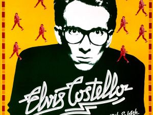 A poster for Elvis Costello at The Bottom Line.