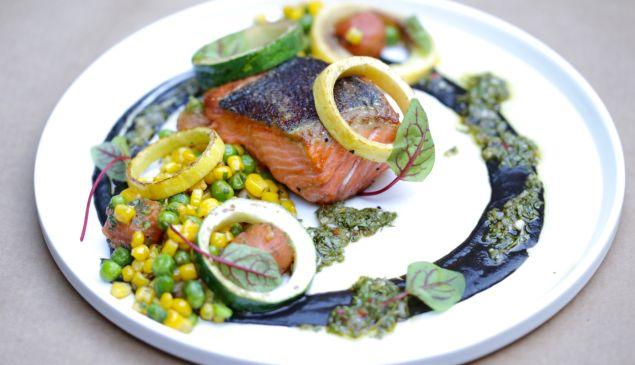 Barbara Jean's Ora king salmon pops with brightness.