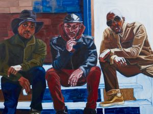 Jordan Casteel. Cowboy E, Sean Cross, and Og Jabar, 2017. Oil on canvas, 90 x 78 in.