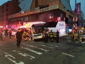 The scene of a deadly bus crash in the Flushing section of Queens on Monday morning.
