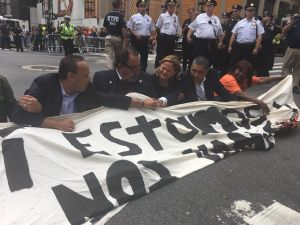 Left to right: U.S. Reps. Luis Gutierrez (D-Ill.) and Raul Grijalva (D-Ariz.), City Council Speaker Melissa Mark-Viverito and U.S. Rep. Adriano Espaillat (D-Upper Manhattan), engaging in civil disobedience in support of DACA recipients near Trump Tower.