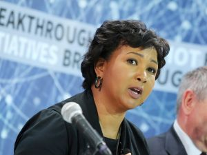 "Mae Jemison speaking during the New Space Exploration Initiative ""Breakthrough Starshot"" on April 12, 2016."