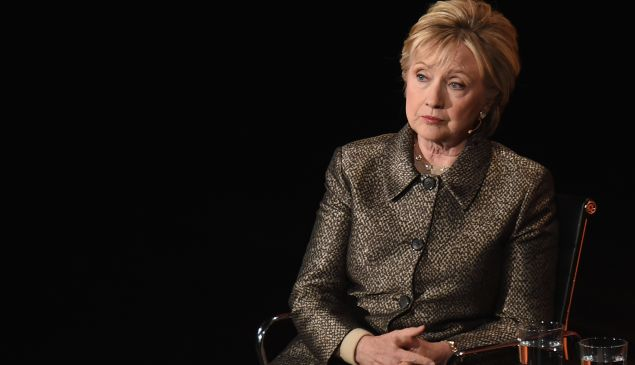 Hillary Clinton speaking during the Eighth Annual Women In The World Summit.