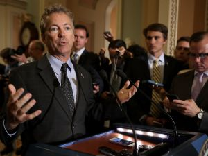 Sen. Rand Paul (R-KY) talks to journalists following the weekly Senate Republican policy luncheon at the U.S. Capitol July 18, 2017.