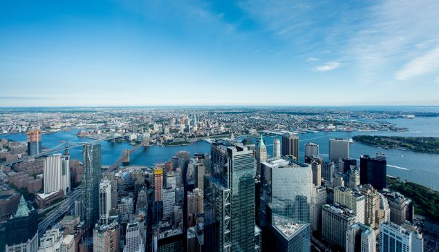 A view of lower Manhattan and Brooklyn as seen from One WTC.