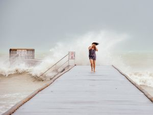 Tati Roberts of Key West, Florida, retreats from the Higgs Beach pier.