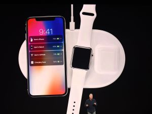 Philip Schiller introduces AirPower, a wireless charging system, during a media event at Apple's new headquarters in Cupertino, California on September 12.