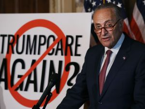 Senate Minority Leader Charles Schumer talks about the possibility of the Senate taking up health care again during a news conference.