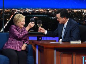 NEW YORK - SEPTEMBER 19: The Late Show with Stephen Colbert and guest Hillary Clinton during Tuesday's September 19, 2017 show.