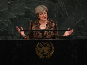 British Prime Minister Theresa May addresses the 72nd UN General Assembly on September 20, 2017, at the United Nations in New York.