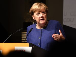 German Chancellor Angela Merkel addresses an election campaign rally of the Christian Democratic Union (CDU) in Neuss, Germany on September 21, 2017.