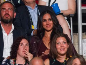 "Meghan Markle, said to be Prince Harry's girlfriend, watches the opening ceremonies of the Invictus Games in Toronto, Ontario, September 23, 2017. Since the ""Suits"" actress, 36, told Vanity Fair the couple are ""in love"" in an interview published early this month, fans and the press have been eagerly awaiting an official appearance. According to his schedule, Queen Elizabeth II's grandson plans to stay at Markle's Toronto home for the entire eight days of the Games."