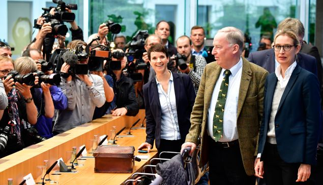 Leaders of AfD arrive for a press conference in Berlin on September 25, 2017, one day after general elections.
