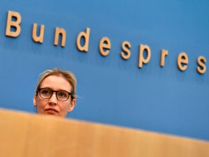 Leadership member of the hard-right party AfD (Alternative für Deutschland) Alice Weidel addresses a press conference on the day after the German General elections on September 25, 2017 in Berlin.