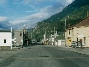 A view down Broadway Avenue, Skagway, Alaska.