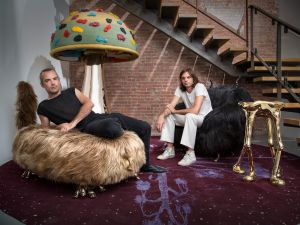 The Haas brothers photographed with a few of their creations.