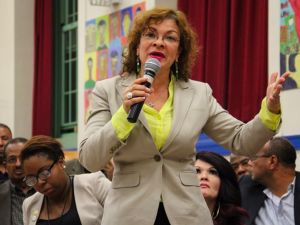 A voter speaks at a candidate debate for the City Council District 18 seat in the Bronx.