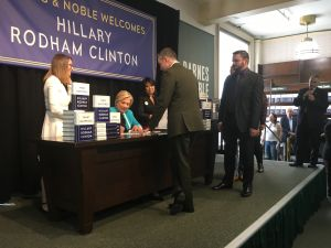Democratic presidential nominee Hillary Clinton, former Secretary of State, at her book signing event at Barnes & Noble in Union Square in Manhattan.