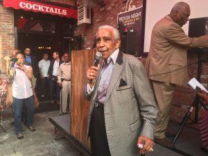 Retired Congressman Charles Rangel speaks at Manhattan Democratic Leader Keith Wright's African American Day Parade breakfast in Harlem.