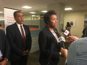 Brooklyn Congresswoman Yvette Clarke addressing reporters following an immigration roundtable discussion in Manhattan.