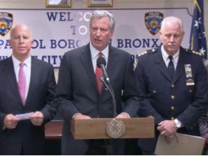 Police Commissioner James O'Neill, left; Mayor Bill de Blasio, center; and NYPD Chief of Detectives Robert Boyce, right, at a press conference on a fatal school stabbing in the Bronx.
