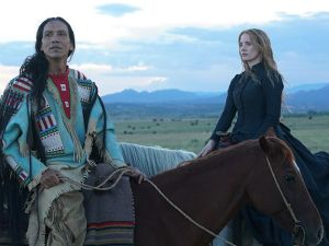 Michael Greyeyes and Jessica Chastain in Woman Walks Ahead.