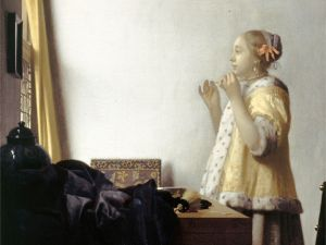 Johannes Vermeer Woman with a Pearl Necklace, c. 1662-65 oil on canvas 20 3/16 x 17 3/4 in.
