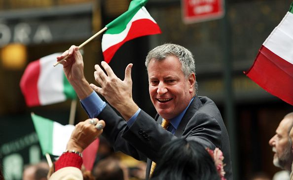 Mayor Bill de Blasio marching in the October 2014 Columbus Day parade.