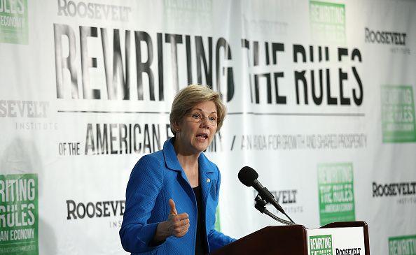 Sen. Elizabeth Warren (D-Mass.) releasing a progressive agenda reporter at an event in Washington, D.C.