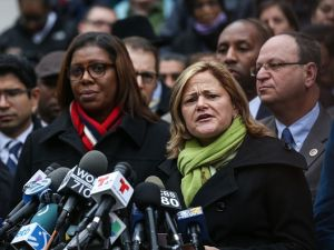 Public Advocate Letitia James, City Council Speaker Melissa Mark-Viverito and other members of the City Council at a press conference.