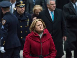 City Council Speaker Melissa Mark-Viverito at a funeral for a technical sergeant of the NYPD.