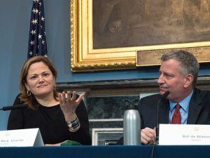City Council Speaker Melissa Mark-Viverito and Mayor Bill de Blasio speaking at an ethnic media roundtable.