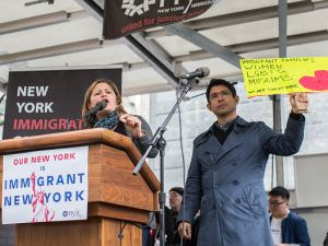 "City Council Speaker Melissa Mark-Viverito and Brooklyn Councilman Carlos Menchaca at the ""March for Immigrant New York."""