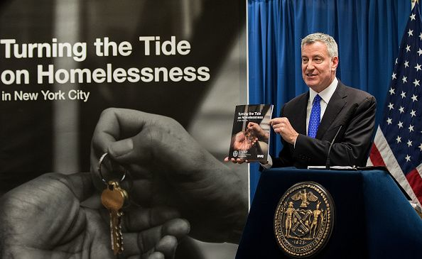 Mayor Bill de Blasio unveiling his long-awaited homeless plan at a press conference in February.