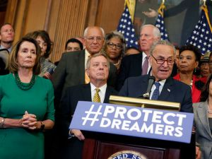 Senate Minority Leader Chuck Schumer and House Minority Leader Nancy Pelosi at a press conference on President Donald Trump's decision to end the Deferred Action for Childhood Arrivals program.