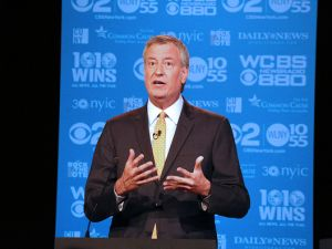 Mayor Bill de Blasio participates in the second mayoral debate at the CUNY Graduate Center in September.