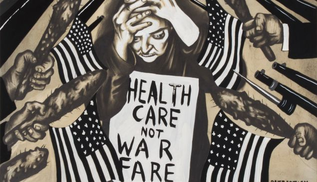 Sue Coe, Healthcare Not Warfare, 2017.