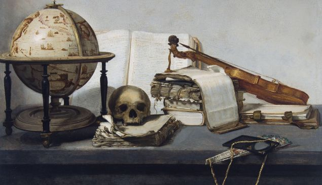 Jan Davidsz van Heem's Vanitas Still life with Books, a Globe, a Skull, a Violin and a Fan, 1650.