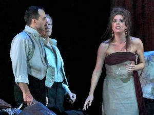 Bedraggled diva Leticia (Audrey Luna) seeks an exit strategy in 'The Exterminating Angel'.