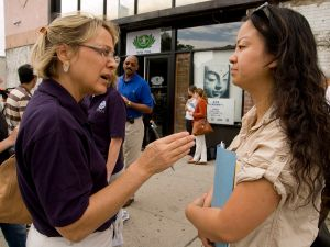 Queens, NY, 9/05/2007 -- Barbara Lynch, a FEMA public affairs officer talks to a local reporter about the Disaster Recovery Assistance Center (DRAC) in Queens. New York was hit by severe storms, flooding, and tornado on August 8, 2007. Patsy Lynch/FEMA