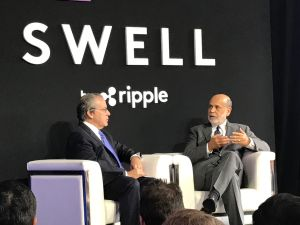 Gene Sperling, the Director of the National Economic Council under President Obama, interviews former Federal Reserve Chairman Ben Bernanke at Swell 2017 in Toronto.