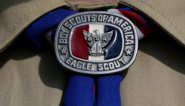 A detial view of a Boy Scout uniform.