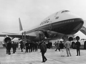The arrival of the first Boeing 747 at London's Heathrow Airport on May 23, 1970.
