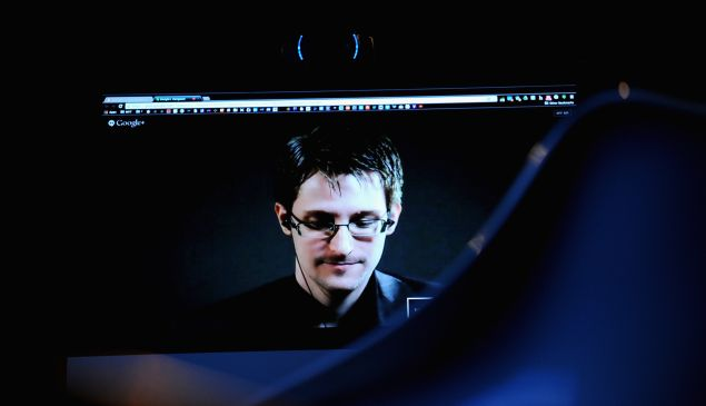 Edward Snowden speaks via videoconference at The New Yorker Festival in 2014.