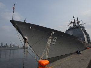 The USS Vicksburg cruiser ship is docked at Constanta port in Constanta, Romania.