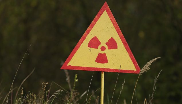 A sign warns of radiation near Chernobyl.