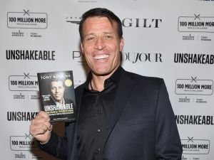 Tony Robbins at the book launch of Unshakeable, February 27, 2017.