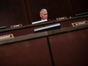 Congressman Trey Gowdy (R-SC) sits alone in a hearing room on Capitol Hill in Washington, DC.