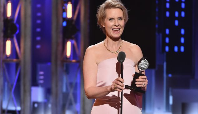 Cynthia Nixon accepts a Tony Award for 'The Little Foxes' in June.
