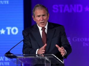 WASHINGTON, DC - JUNE 23: Former U.S. President George W. Bush speaks during a conference at the U.S. Chamber of Commerce June 23, 2017 in Washington, DC. The George W. Bush Institute hosted a conference to address veteran issues.